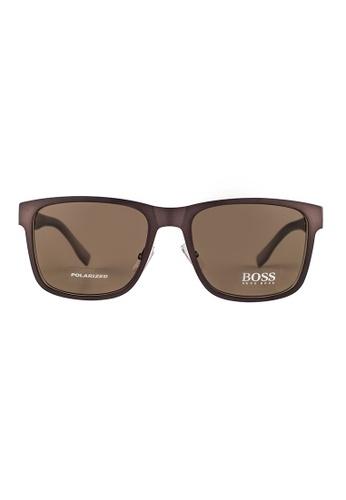 Hugo Boss brown HUGO BOSS Square Brown Polarized Sunglass 0748FS HU898AC51OVSMY_1