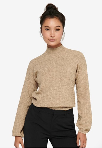 ONLY brown Marylynn Long Sleeves Knit Pullover 987B8AAB267420GS_1