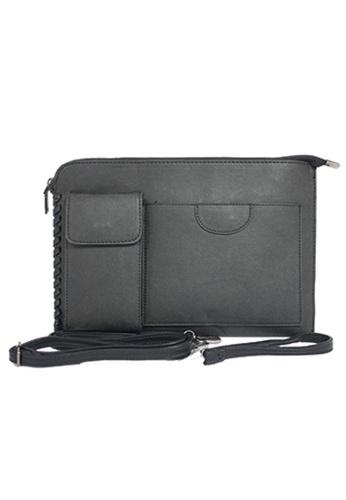Private Stitch black Multi Compartment Clutch Bag 33B4EAC3FCA524GS_1