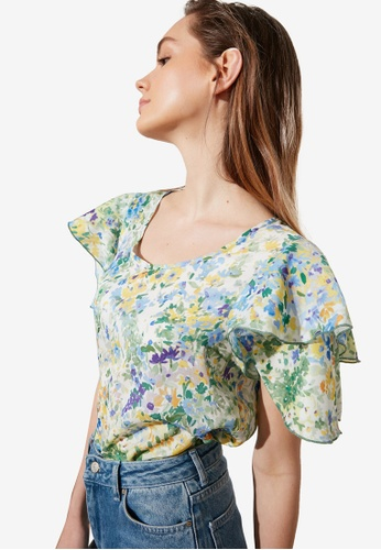 Trendyol multi Floral Print Ruffle Blouse D4D55AA1CCCE7BGS_1