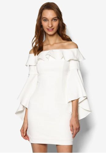 Mica 荷葉飾露肩連身裙, esprit服飾服飾, 洋裝