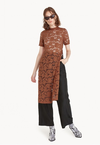 Pomelo brown Sheer Lace Long Slit Blouse - Brown 593D6AAD044E4EGS_1