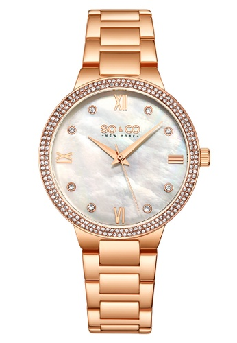 SO&CO pink So & Co New York Women's Madison Stainless Steel Bracelet Watch 0E529AC0DCF81CGS_1