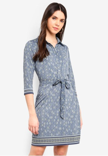 Max Studio blue and multi Printed Matte Jersey Shirt Dress 8EA65AA65C5492GS_1