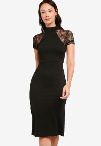 ZALORA OCCASION black Lace Sleeve Bodycon Dress E4A8FAA153BC12GS_1