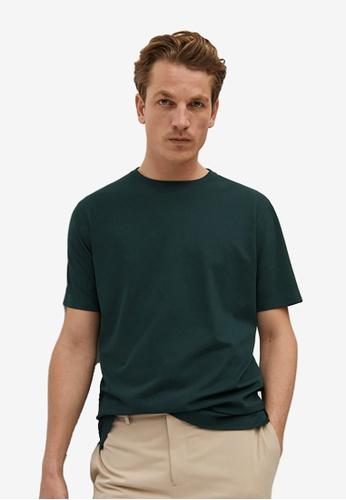 MANGO Man green Technical Pique T-Shirt 49FB4AA3955D41GS_1