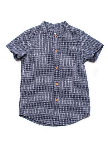 Mini Moley navy Oriental Motif Print Mandarin Collar Boy's Short Sleeve Shirt 8FA0DKA4ABC5A5GS_1