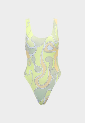 Pomelo green Sustainable Wave Print Swimsuit - Green D9A60US08DBA64GS_1