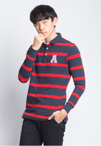 Arnold Palmer navy ARNOLD PALMER STRIPED LONG SLEEVES POLO 24853AAFEF7B90GS_1