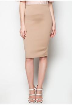 Nude Midi Skirt