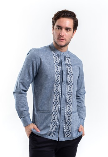 MANLY blue MANLY Hamza Blue Slim Fit Combination Shirt 4C6C5AAA55782FGS_1