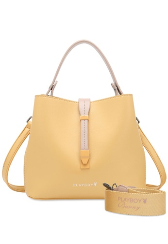 PLAYBOY BUNNY yellow Logo Detail Top Handle Sling Bag DAD3BAC9EBB059GS_1