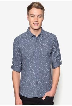 Triangle Print Denim Long Sleeve Shirt