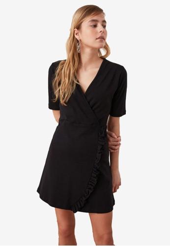 Trendyol black Frill Trim Detail Wrap Dress 75AD9AAEA2F240GS_1