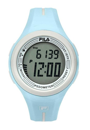 FILA Watches blue Fila Digital White and Aqua Blue Rubber Watch A0253AC7487883GS_1
