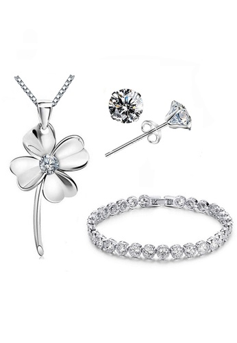 2bfeb605e203f YOUNIQ Untold 925 Sterling Silver Necklace Key Pendant with Silver Cubic  Zirconia Necklace, Earrings & Bracelet Set
