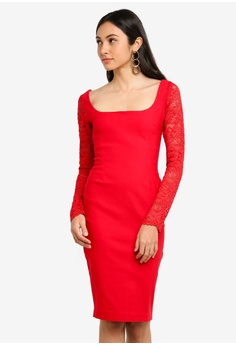 7b5fd0cdfd Vesper red Mini Dress With Lace Long Sleeve DBC4CAA77A67BEGS 1