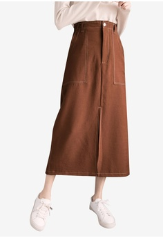 36e9b68852 Eyescream brown Side Split Maxi Skirt With Accentuated Pockets  9483EAADBAF179GS_1