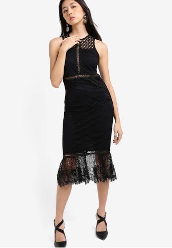 TOPSHOP black Geo Mesh Peplum Hem Midi Length Dress TO412AA33TVIMY_1