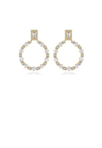 Glamorousky 白色 簡約氣質鍍金色鏤空幾何圓圈耳環配鋯石 2744FAC1DCA8F9GS_1