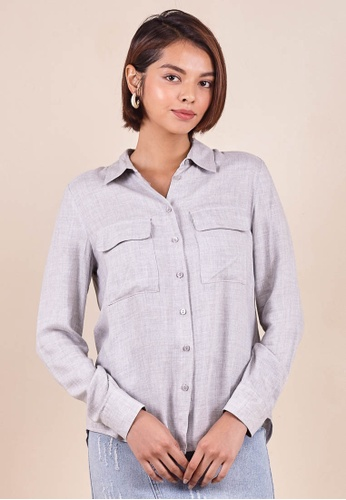 Dressing Paula grey Rayon Shirt Top 07BA3AA53159AEGS_1