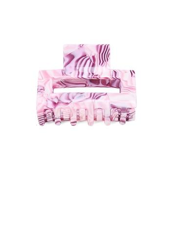 Glamorousky silver Fashion Simple Purple Pattern Geometric Hair Claw C12E7ACDA63DFDGS_1