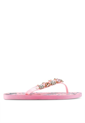 River Island pink Pink Jewel Embellished Flip Flops E9D5ESHDF5DBA9GS_1