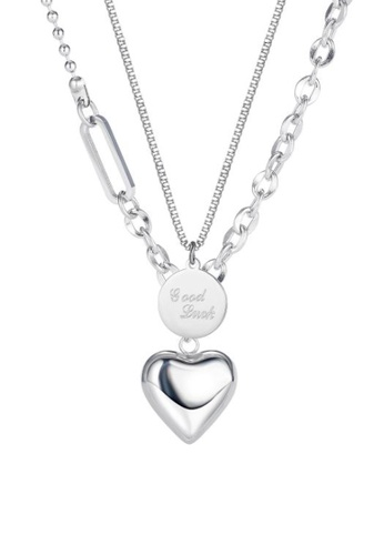 CELOVIS silver CELOVIS - Evangeline Heart and  'Good Luck' Tag Pendant Double-layer Necklace in Silver 8E79CACED76BD6GS_1