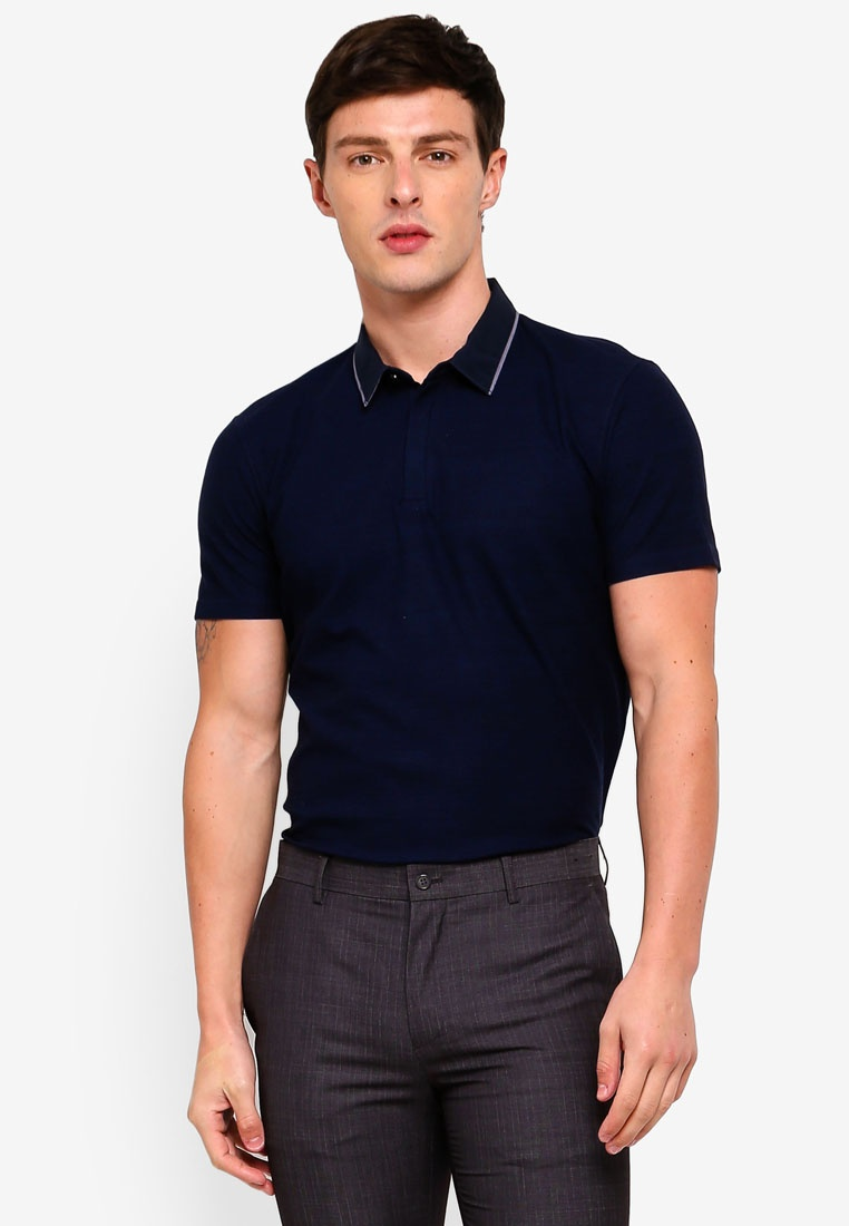 G2000 Woven Navy Dark Shirt Polo Collar gnzna68