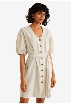 fdccc6377e2 Mango beige Striped Linen Dress B5A17AA93B957FGS 1