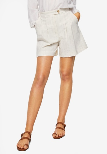Mango white Striped Linen Shorts 1AD62AAA52EF0AGS_1