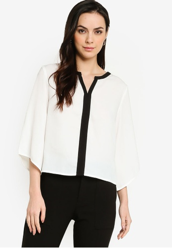 ZALORA WORK multi Flare Sleeves Contrast Placket Blouse CD1CDAA1161BDDGS_1