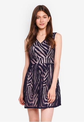 Mela London navy Abstract Stripe Lace Dress A555EAA0D0E9AAGS_1
