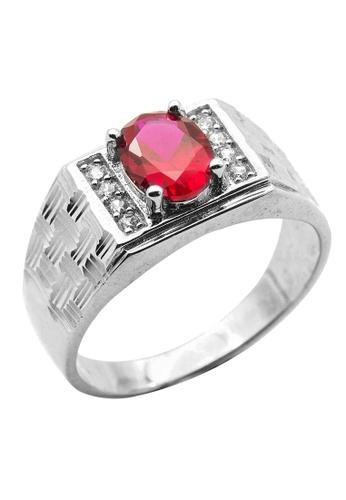 Elfi red Elfi 925 Genuine Silver Engagement Ring R46 - The Orion (Red) 8C2DBACAA06BEFGS_1