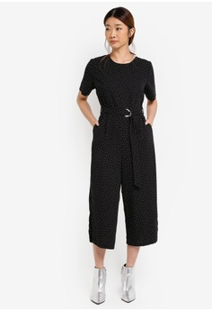 Dorothy Perkins black Petite Spot Crepe Jumpsuit DO816AA0T04WMY_1
