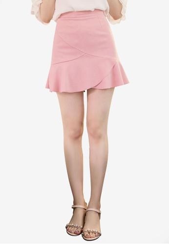 Eyescream pink Peplum Hem Mini Skirt 37196AAC11EA91GS_1