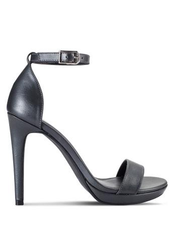 ZALORA 灰色 新年系列 細跟繞踝涼鞋 ADLEGSH0000025GS_1