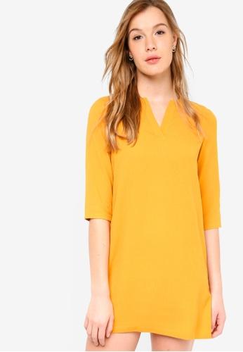 ZALORA BASICS yellow Basic Notch Neck Dress 889BCAA91D198CGS_1