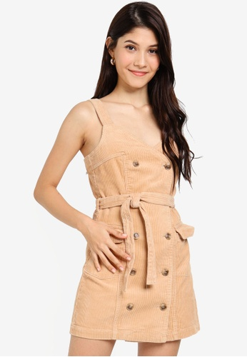 enjoy discount price good looking fashionable patterns Petite Camel Pinafore Cord Dress