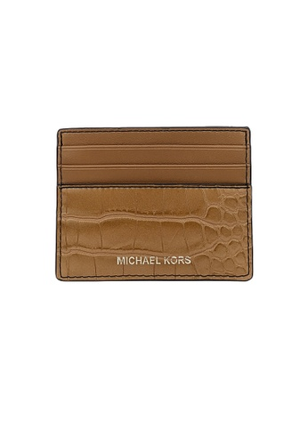 Michael Kors beige Michael Kors Cooper Crocodile Embossed Leather Tall Card Case 36F1LC0D2E Luggage 2C045ACBA64D8BGS_1