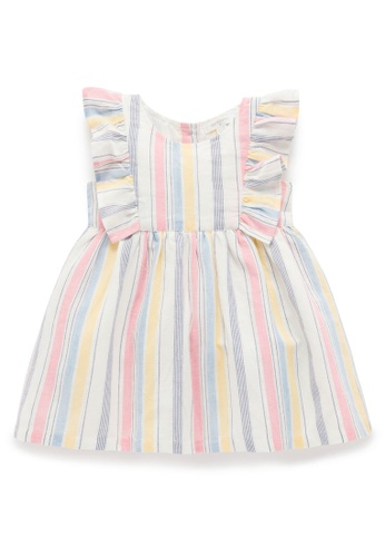 Purebaby white and pink and yellow and multi Ruffle Dress 91E57KA797B30FGS_1