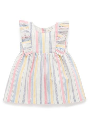 Purebaby white and pink and yellow and multi Ruffle Dress 91E57KA797B30FGS_1