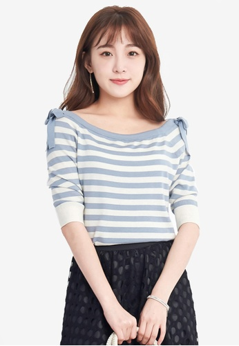 Yoco blue Off Shoulder Striped Knit Top B4850AABA2C4D2GS_1