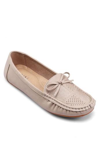 zalora 手錶蝴蝶結網眼莫卡辛鞋, 女鞋, 鞋