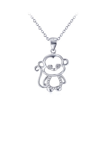 Glamorousky white 925 Sterling Silver Fashion Cute Monkey Pendant with Cubic Zirconia and Necklace DD9FEAC0C41F79GS_1