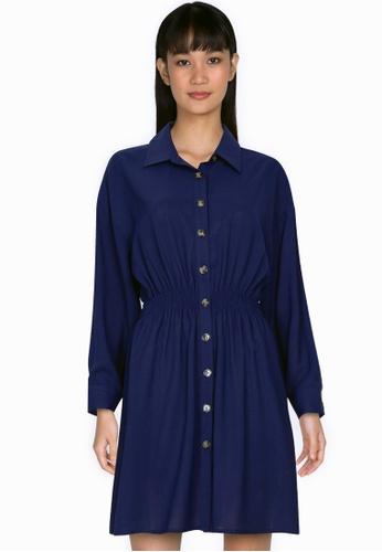 ZALORA BASICS navy Smoked Waist Long Sleeves Dress ABD21AA13FDDBEGS_1