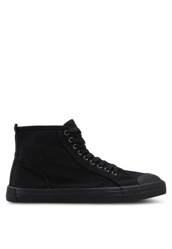 Burton Menswear London black Black Canvas Toe Bumper High Tops 8FF5DSHCB321E8GS_1