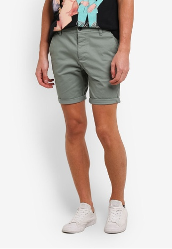 Topman green Light Khaki Stretch Skinny Chino Shorts TO413AA0S5L2MY_1