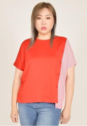 Cheetah red Arissa Plus Size Drop Shoulder Mixed Fabric Top - ARS-9636 CF09DAA075E717GS_1