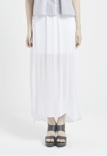 NINETEENEIGHTY white Chiffon Pleats Skirt NI195AA96XCTSG_1